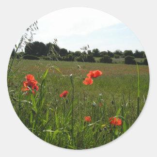 Grass and Poppy Field Round Sticker
