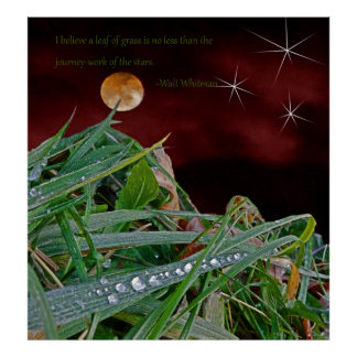 """""""Grass"""", Art Poster with Walt Whitman Quote"""