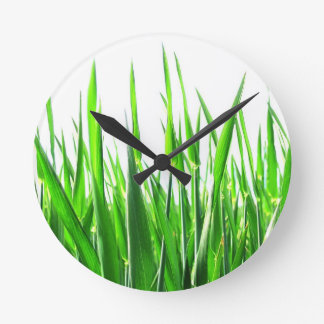 Grass Blades Nature Abstract Shapes Fashion style Round Clock