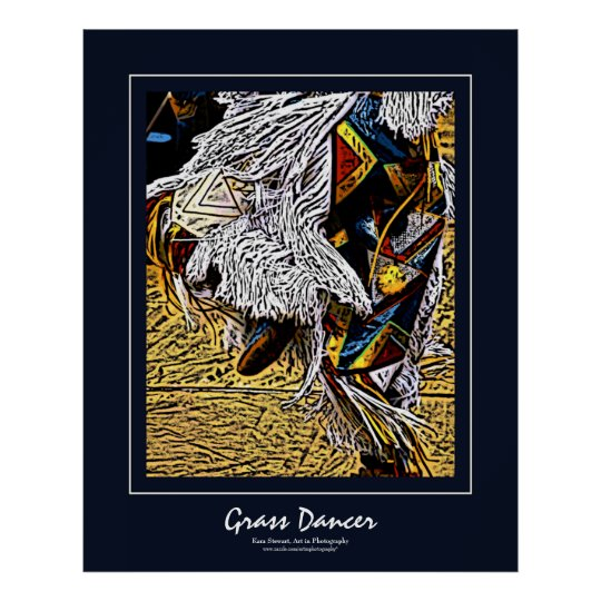 Grass Dancer Dark Blue Border Poster
