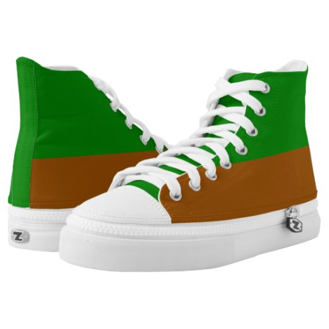 Grass & Earth Green and Brown Two-Tone Zipz Hi-Top