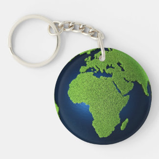 Grass Earth With Blue Oceans - Africa, 3d Keychain