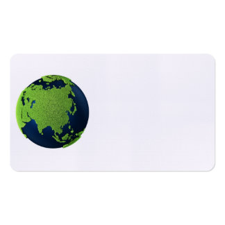 Grass Earth With Blue Oceans - Asia, 3d Business Card