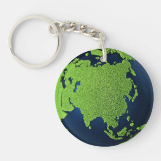 Grass Earth With Blue Oceans - Asia, 3d Keychain