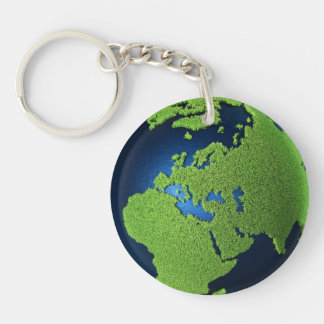 Grass Earth With Blue Oceans - Europe, 3d Keychain