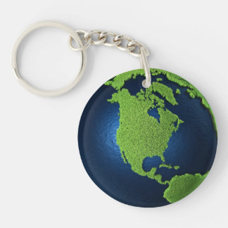 Grass Earth With Blue Oceans - North America, 3d Keychain