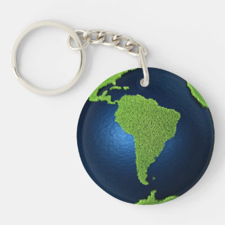 Grass Earth With Blue Oceans - South America, 3d Keychain