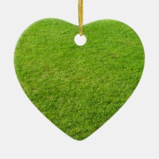 Grass field ceramic heart ornament