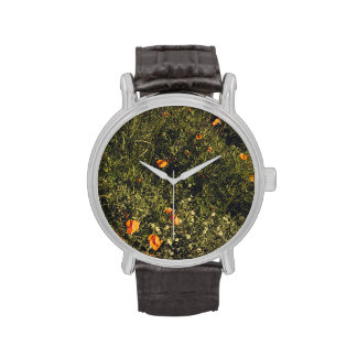 Grass Field With Wild Flowers and Poppies Watches