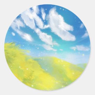 Grass Fields Classic Round Sticker