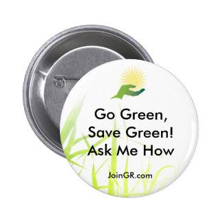 grass, GR_ICONO_LOGO, JoinGR.com, Go Green,Save... Pinback Button