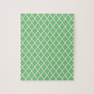Grass Green And White Moroccan Trellis Pattern Jigsaw Puzzles