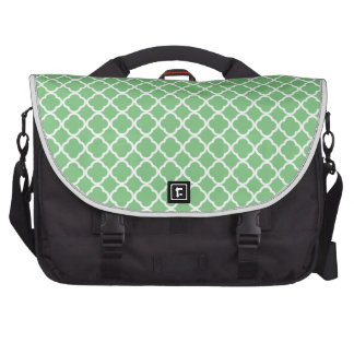 Grass Green And White Quatrefoil. Moroccan Pattern Bag For Laptop