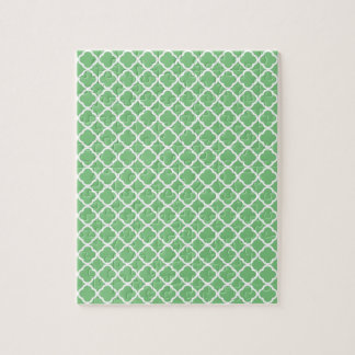 Grass Green And White Quatrefoil. Moroccan Pattern Jigsaw Puzzles