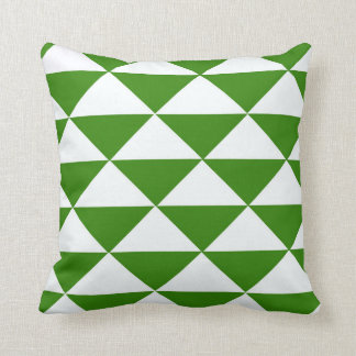 Grass Green and White Triangles Throw Pillow