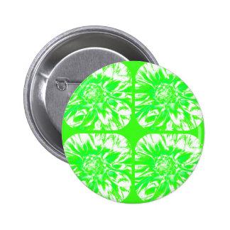 Grass Green Collage Dahlia Flower Pattern Pinback Buttons