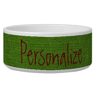 Grass Green Denim Look Pet Bowl