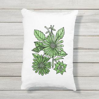 Grass Green Floral Bouquet Outdoor Pillow