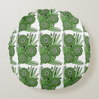 Grass Green Gerbera Daisy Flower Bouquet Round Pillow