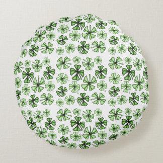 Grass-Green Lucky Shamrock Clover Round Pillow