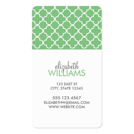 Grass Green Moroccan Quatrefoil Pattern Business Card