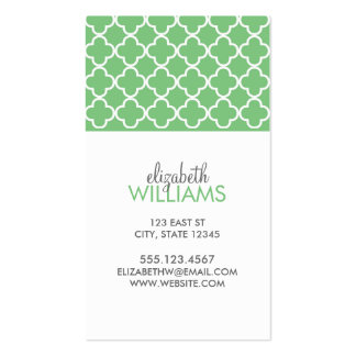 Grass Green Moroccan Quatrefoil Pattern Double-Sided Standard Business Cards (Pack Of 100)