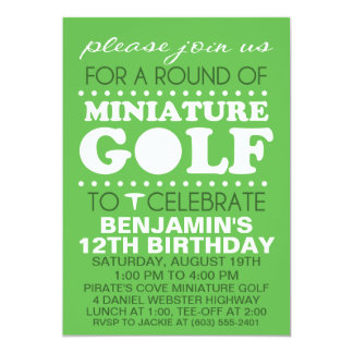 Grass Green Tee Time Miniature Golf Birthday Party Card