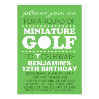 Grass Green Tee Time Miniature Golf Birthday Party Personalized Invite