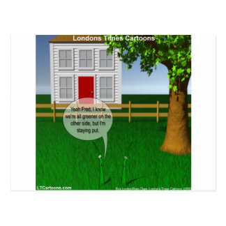 Grass Greener On Other Side Funny Postcard