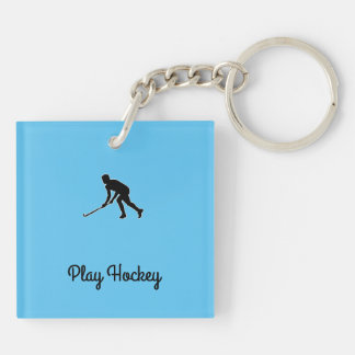 Grass Hockey Player Keychain