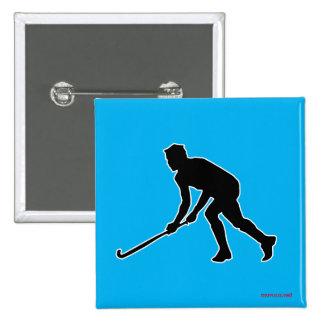 Grass Hockey Player Pinback Button