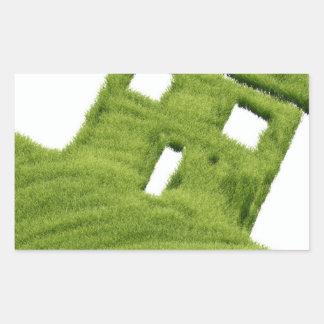 Grass house rectangular sticker