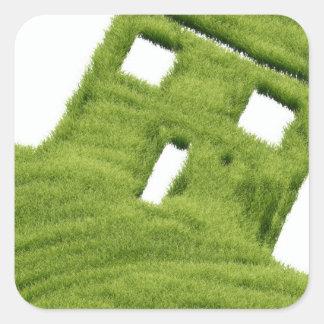 Grass house square sticker