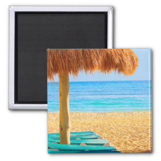 Grass Hut & Loungers On Beach 2 Inch Square Magnet
