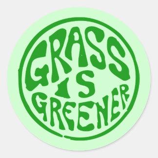 Grass is Greener Round Stickers