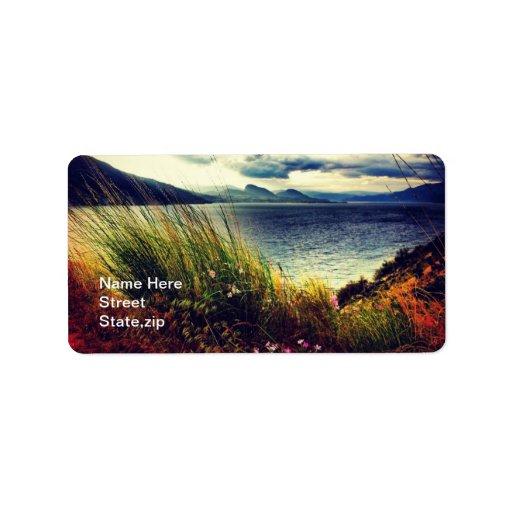 Grass Lake Dark Blue Clouds Address Label