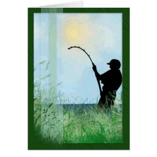 Grass & Lake & Fisherman Card