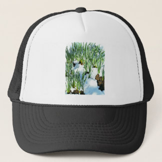 Grass on snow surface trucker hat
