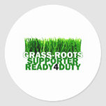 GRASS-ROOTS SUPPORTER READY 4 DUTY CLASSIC ROUND STICKER