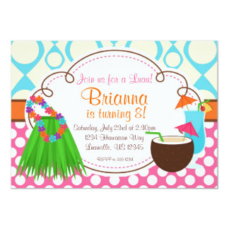 Grass Skirt and Coconut Drink, Luau Birthday Party 5x7 Paper Invitation Card