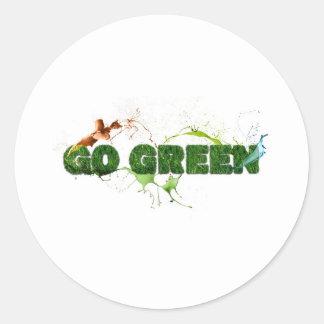 Grass textured go green classic round sticker