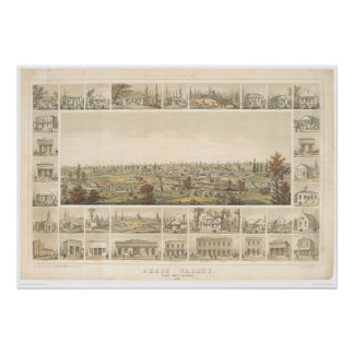 Grass Valley, CA. Panoramic Map 1858 (0663A) Print
