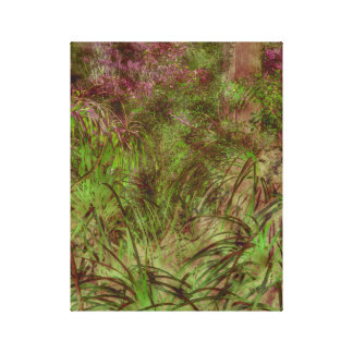 Grasses and pink flowers canvas print