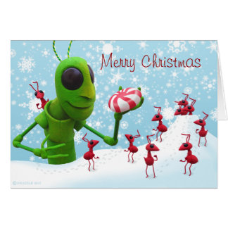 Grasshopper and Ants Christmas Card