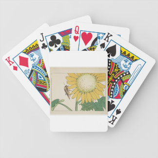 Grasshopper and sunflower by Shibata Zeshin Bicycle Playing Cards