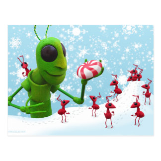 Grasshopper and the Ants Christmas Postcard
