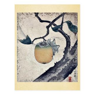 Grasshopper eating persimmon by Katsushika Hokusai Postcards