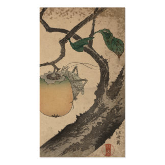 Grasshopper eating persimmon -  Katsushika Hokusai Business Card Template