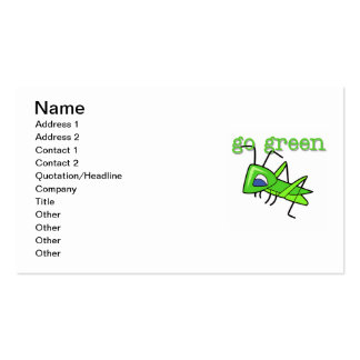 Grasshopper Go Green T-shirts and Gifts Business Cards
