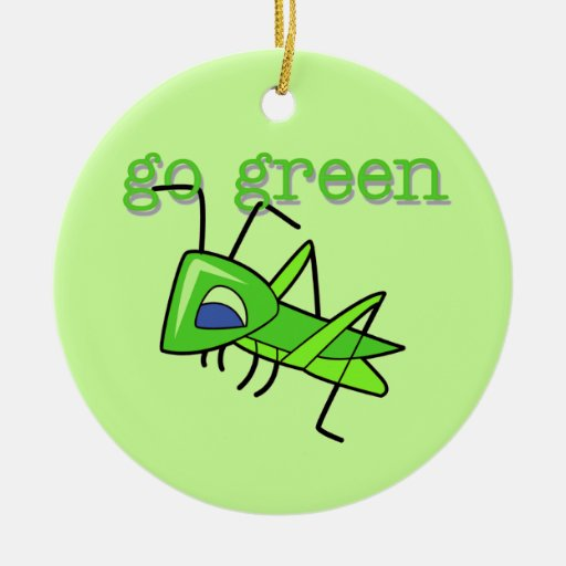 Grasshopper Go Green T-shirts and Gifts Christmas Ornaments